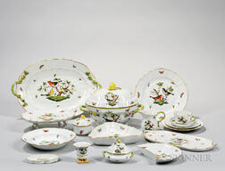 "Herend Porcelain ""Rothschild"" Bird Pattern Tableware"