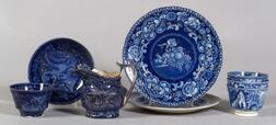Eight Blue and White Transfer Decorated Staffordshire Pottery Table Items