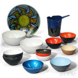 Fourteen Mid-century Enameled Tableware Items and a Poole Pottery Plate