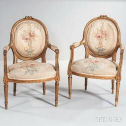 Pair of Louis XVI-style Tapestry-upholstered Fauteuils