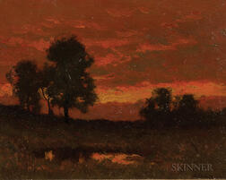 William Crothers Fitler (American, 1857-1915)      Sunset Landscape