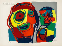 Karel Appel (Dutch, 1921-2006)      Deux têtes