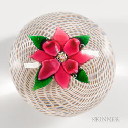 Sandwich Clematis Over Latticinio Swirl Paperweight