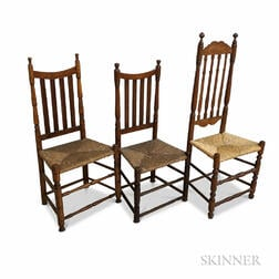 Three Turned Maple Bannister-back Side Chairs.