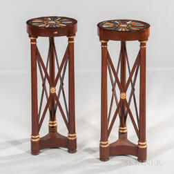 Pair of Neoclassical Mahogany and Mahogany-veneered Specimen-topped Tripod Pedestals