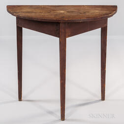 Red-painted Pine Demilune Console Table