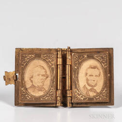 Miniature Brass Book-form Campaign Locket with Albumen Photographs of Abraham Lincoln and Andrew Johnson