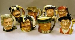 Seven Large and One Extra Large Royal Doulton Character Jugs