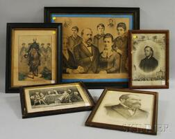 Five Framed 19th Century Military and Political Lithographs