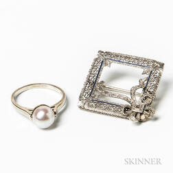 14kt White Gold and Diamond Brooch and 14kt White Gold and Pearl Ring