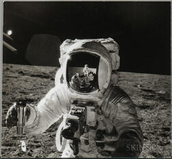 Apollo 12, Alan Bean with a Reflected Image of Pete Conrad on the Moon, November 1969.