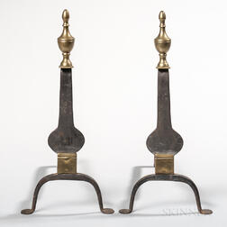 Pair of Iron and Brass Urn-top Knifeblade Andirons