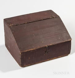 Miniature Red-painted Pine Slant-lid Desk Box