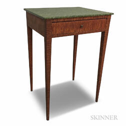 Federal Faux Marble and Grain-painted One-drawer Stand