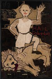 """Hail Columbia"" Hooked Rug"