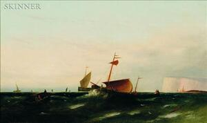 William Henry Williamson (British, 1820-1883)    Fishing Boats Off the Coast of Dover