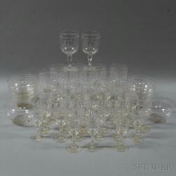 Set of Forty-three Sandwich Etched Colorless Glass Items