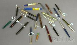 Twenty-two Vintage Fountain Pens and Writing Instruments.