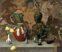Harry Willson Watrous (American, 1857-1940)      Still Life with Objets d'Art and Yellow Roses