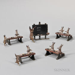 Five Painted Bronze Figures of Rabbits Playing School