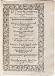 Guevara, Antonio de (c. 1490-1544) A Chronicle, Conteyning the Lives of Tenne Emperours of Rome.