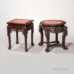 Two Marble-top Stools