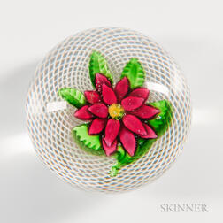 Saint Louis Double Red Clematis Over Latticinio Swirl Paperweight