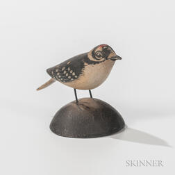Elmer Crowell Carved and Painted Miniature Downy Woodpecker