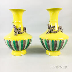 Pair of Yellow-glazed Vases
