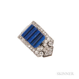 Art Deco Platinum, Lapis, and Diamond Dress Clip, Cartier London