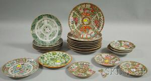 Twenty Assorted Chinese Export Porcelain Plates