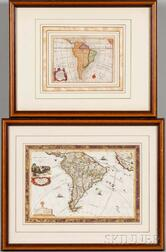 South America, Two Hand-colored Maps.