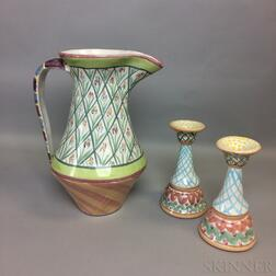 Pair of MacKenzie-Childs Ceramic Candlesticks and a Pitcher