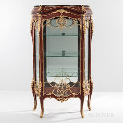Pair of Louis XV-style Mahogany-veneered and Gilt-metal-mounted Floor Vitrines