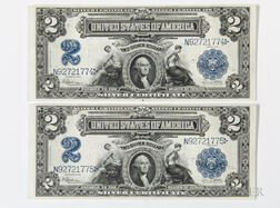 Two 1899 $2 Silver Certificate Consecutive Serial Number Notes, Fr. 258