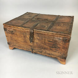 Colonial-style Iron-mounted and Carved Wood Box
