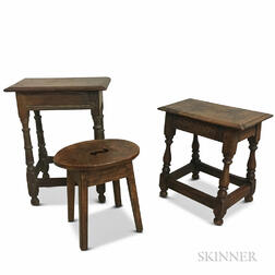Two Carved Oak Joint Stools and an Elm Footstool