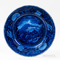 """Staffordshire Historical Blue Transfer-decorated """"Pine Orchard House/Catskill Mountains"""" Dinner Plate"""