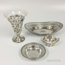 Four Pieces of Sterling Silver Reticulated Tableware