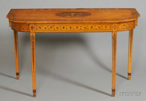 George III Polychrome Painted Satinwood Console Table