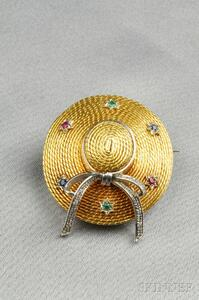 18kt Gold Gem-set Hat Brooch