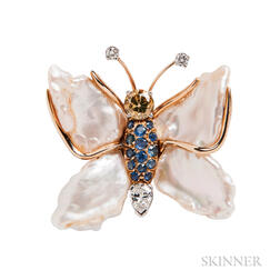 Gem-set Butterfly Brooch, Ruser