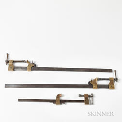 Three Iron and Brass Vises or Clamps
