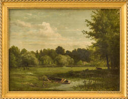 Richard William Hubbard (Connecticut, 1816-1888)       Pond Scene Near Peekskill Hills.