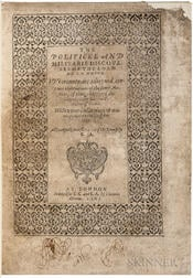 La Noue, Francois de (1531-1591) The Politicke and Militarie Discourses of the Lord de la Novve.