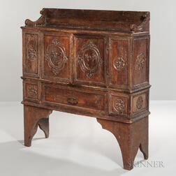 Baroque Carved Walnut Side Cabinet