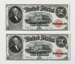 Two 1917 $2 Legal Tender Consecutive Serial Number Notes, Fr. 60