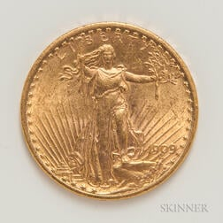 1909 $20 St. Gaudens Double Eagle Gold Coin.