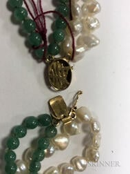 14kt Gold, Jade, and Freshwater Pearl Necklace