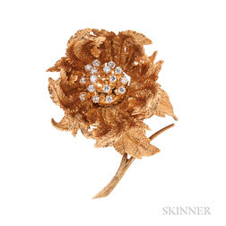 18kt Gold and Diamond Flower Brooch, Hammerman Brothers